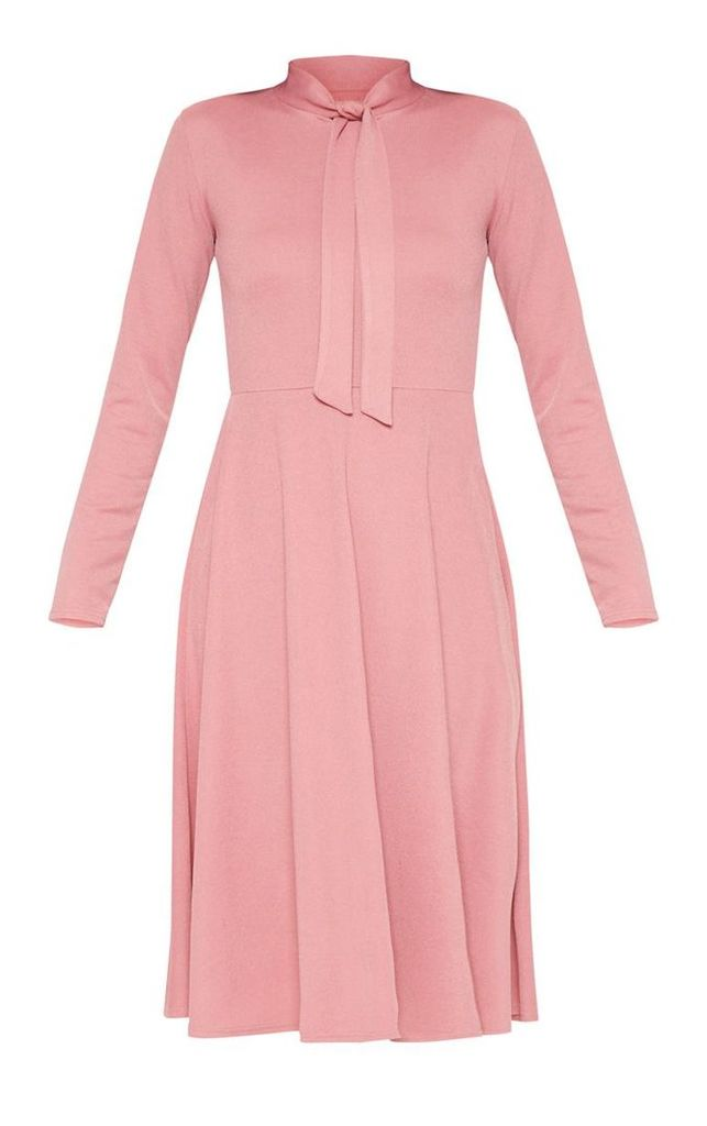 Dusty Pink Tie Neck Skater Midi Dress, Dusty Pink