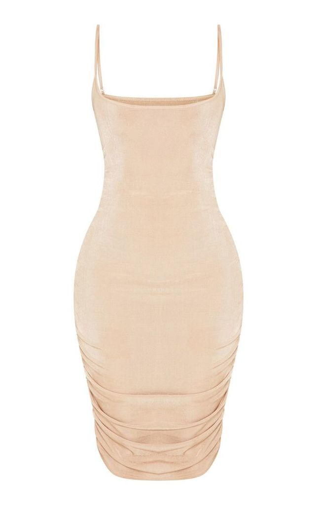Shape Stone Slinky Ruched Bodycon Dress, White
