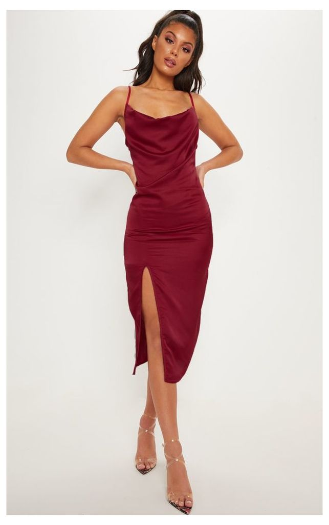 Burgundy Strappy Satin Cowl Midi Dress, Red