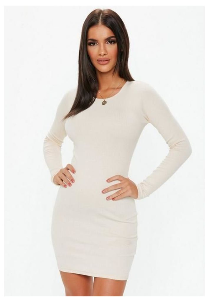 Cream Ribbed Bodycon Mini Dress, Cream