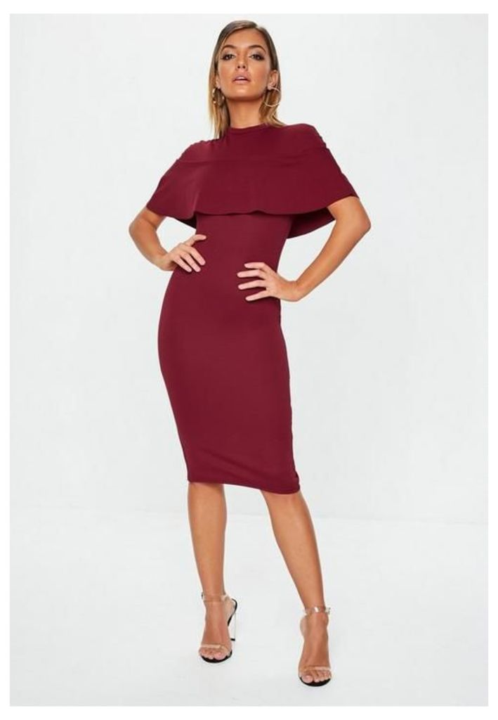 Burgundy Frill Overlay Midi Dress, Burgundy