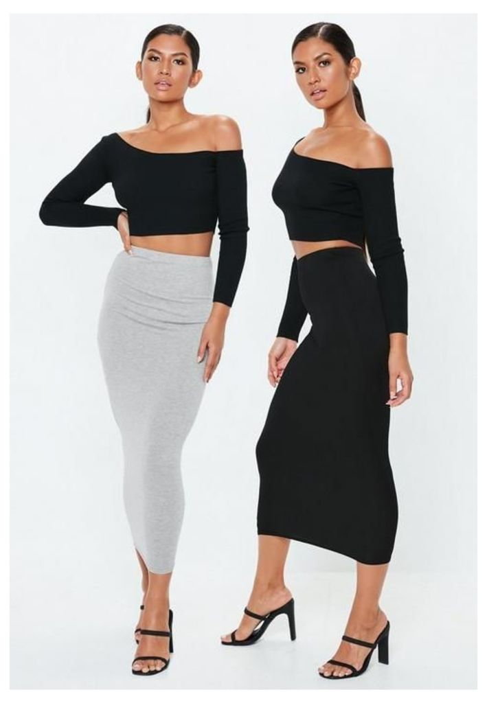 Grey and Black 2 Pack Jersey Maxi Skirts, Black