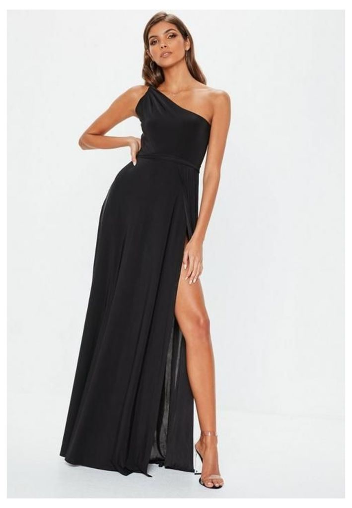 Black Twist Slinky Maxi Dress, Black
