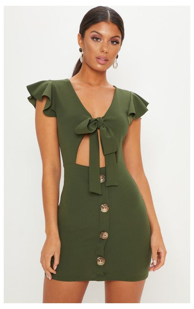 Khaki Tie Front Button Detail Mini Dress