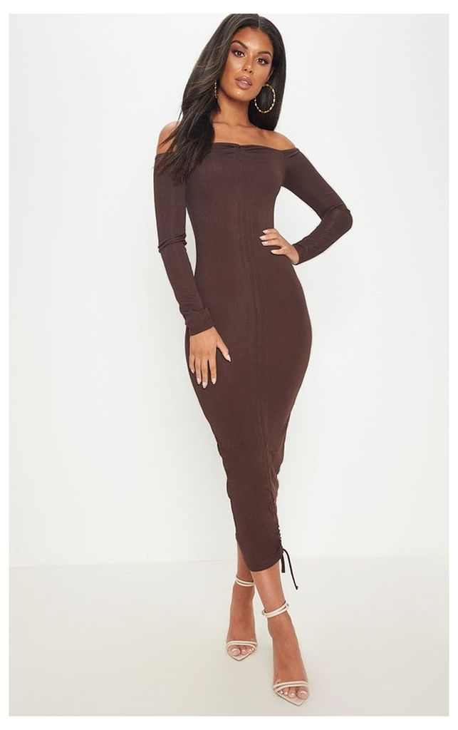Chocolate Brown Ribbed Ruched Bardot Midi Dress