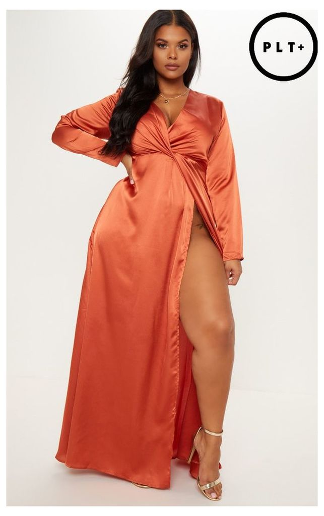 Plus Rust Twist Front Maxi Dress