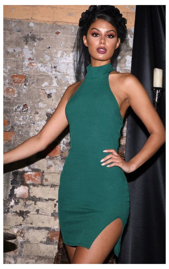 Emerald Green Ribbed High Neck Split Detail Bodycon Dress