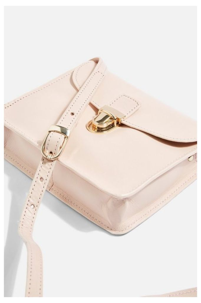 Womens Leather Cross Body Bag - Pink, Pink