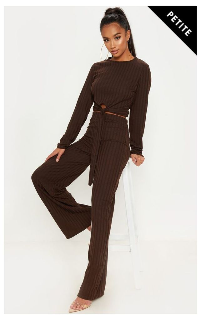 Petite Chocolate Brown Rib Wide Leg Trouser