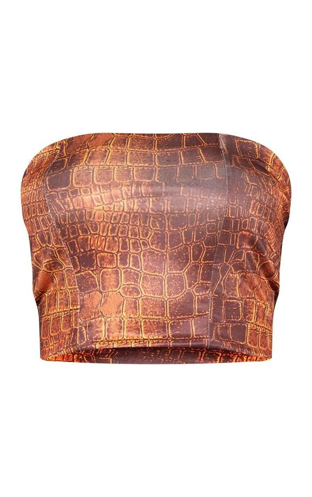 Brown Croc Print Slinky Bandeau Crop Top