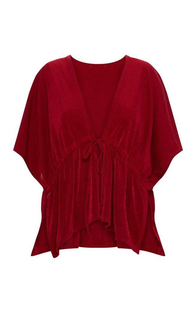 Burgundy Tie Waist Kimono Top