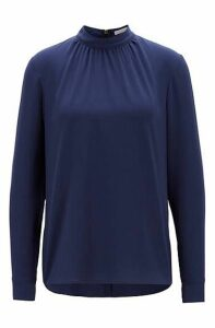 Crepe blouse with gathered neckline
