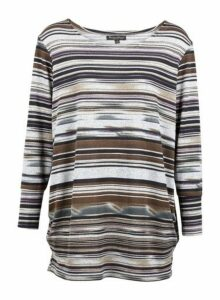 Womens *Izabel London Grey Striped Jumper- Grey, Grey