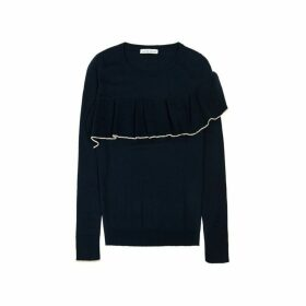 Ille De Cocos Merino Ruffle Trim Sweater - Navy- Gold