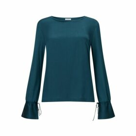 Jigsaw Flare Sleeve Silk Cuff Top