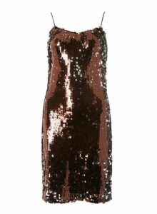 Womens Tall Chocolate Brown Sequin Slip Dress, Brown