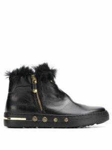 Baldinini rabbit fur lined ankle boots - Black