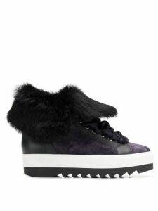 Hogl fur lining platform boots - Blue