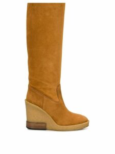 Tod's knee-length wedge boots - NEUTRALS
