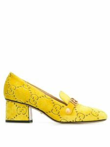 Gucci velvet GG logo loafers - Yellow