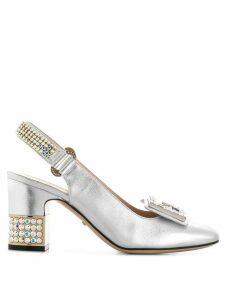 Gucci crystal G embellished pumps - Silver
