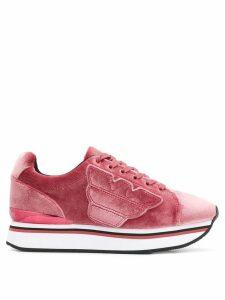 Emporio Armani textured sneakers - PINK