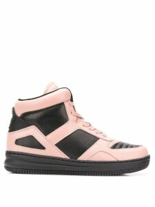 Emporio Armani colour block hi-top sneakers - Black