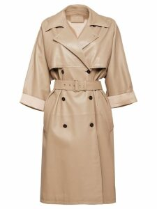 Prada double-breasted midi coat - NEUTRALS