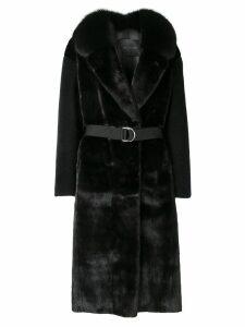 Blancha contrast sleeve coat - Black
