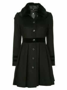 Loveless fur collar flared coat - Black