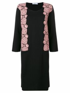 Blumarine floral embroidery sweater dress - Black