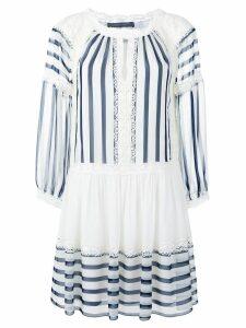 Alberta Ferretti lace trim striped flared dress - White
