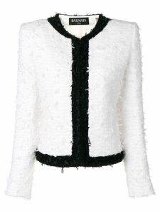 Balmain fitted tweed jacket - White