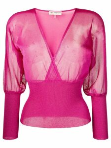 Emilio Pucci Metallic Semi-sheer Wrap Front Top - PINK