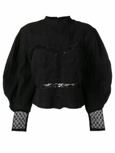 Isabel Marant long-sleeve embroidered blouse - Black