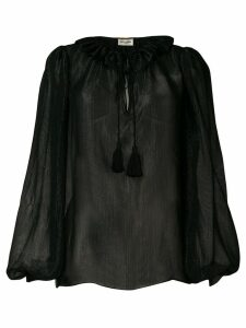 Saint Laurent lurex ruffle trim blouse - Black