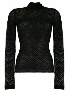 Roland Mouret sheer knitted top - Black