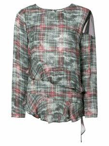 Nicole Miller asymmetric ruffle blouse - Green