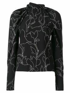 Carven floral print blouse - Black