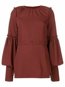 Rokh panelled ruffle trim blouse - Red