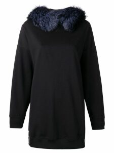 Mr & Mrs Italy fox fur oversized hoodie - Black