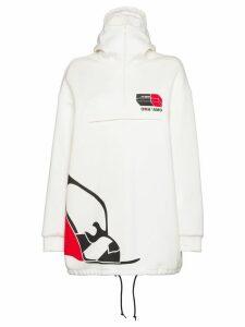 Prada fleece logo print hoodie - White