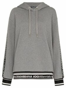 Dolce & Gabbana logo piped sleeve hoodie - Grey