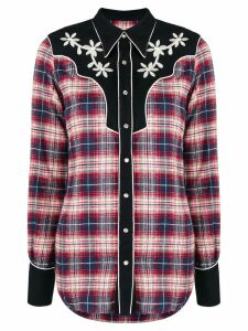 Dsquared2 floral embroidered tartan shirt - Blue
