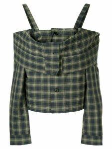 Ambush off shoulder check shirt - Green