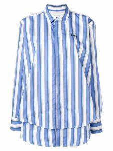 MSGM logo print striped shirt - Blue
