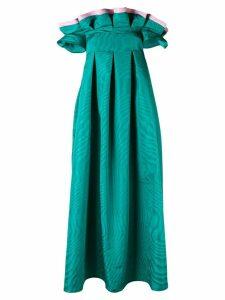 Talbot Runhof bi-colour flared dress - Green