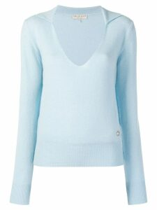 Emilio Pucci Light Blue Cashmere Polo Jumper