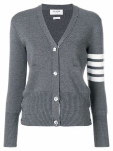 Thom Browne Milano Stitch V-Neck Merino Cardigan - Grey