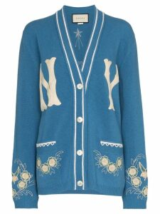 Gucci NY Yankees patch embroidered wool cardigan - Blue